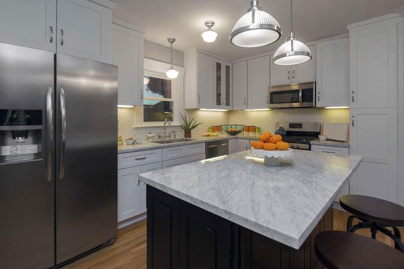 Granite Countertops White Black Cabinets2 Northern Michigan Granite  Countertops White Black Cabinets2 Northern Michigan MKD Kitchens